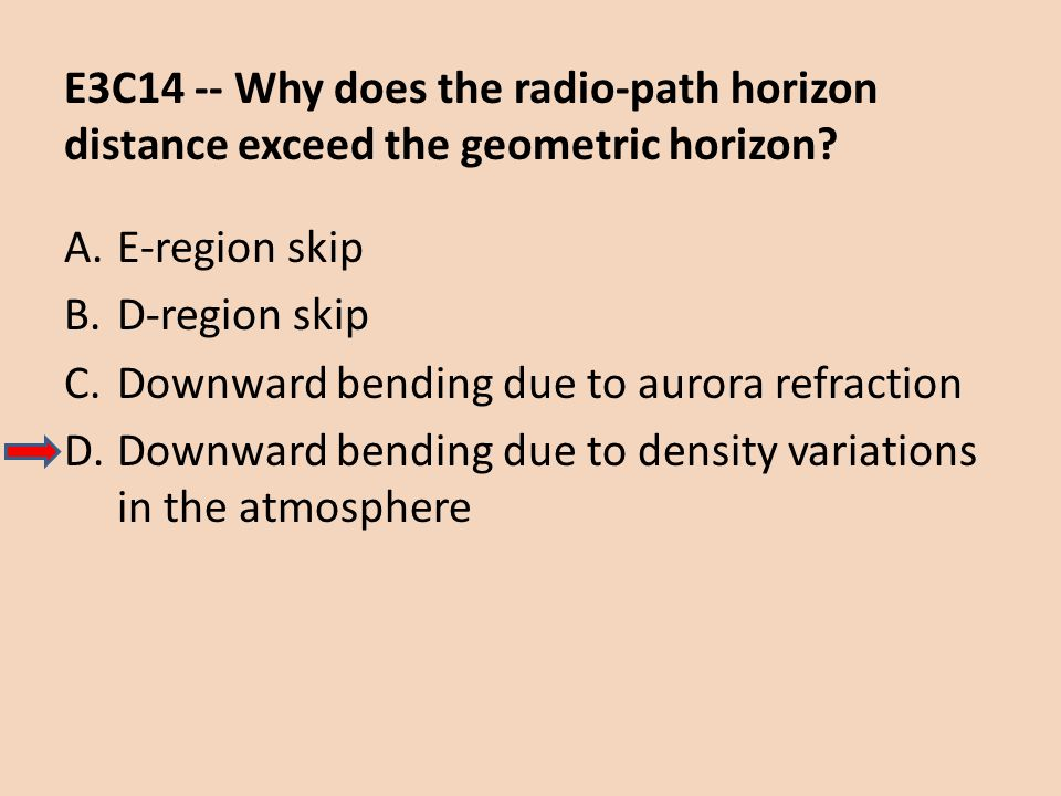 E3C14 -- Why does the radio-path horizon distance exceed the geometric horizon