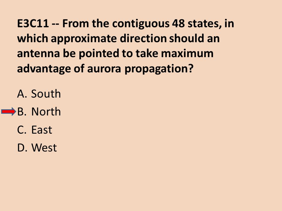 E3C11 -- From the contiguous 48 states, in which approximate direction should an antenna be pointed to take maximum advantage of aurora propagation