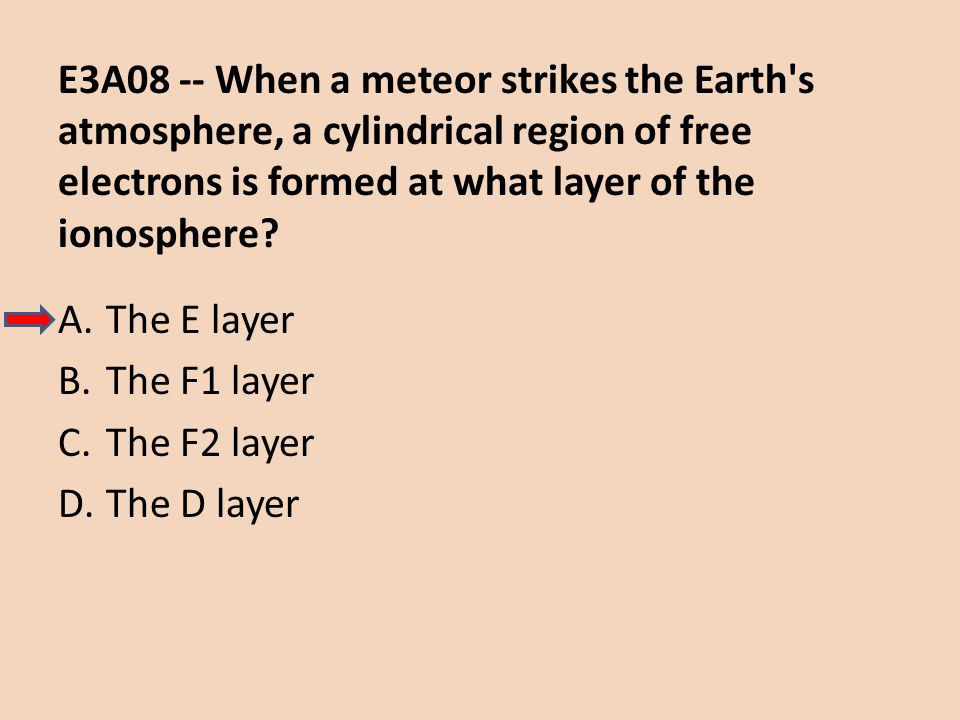 E3A08 -- When a meteor strikes the Earth s atmosphere, a cylindrical region of free electrons is formed at what layer of the ionosphere