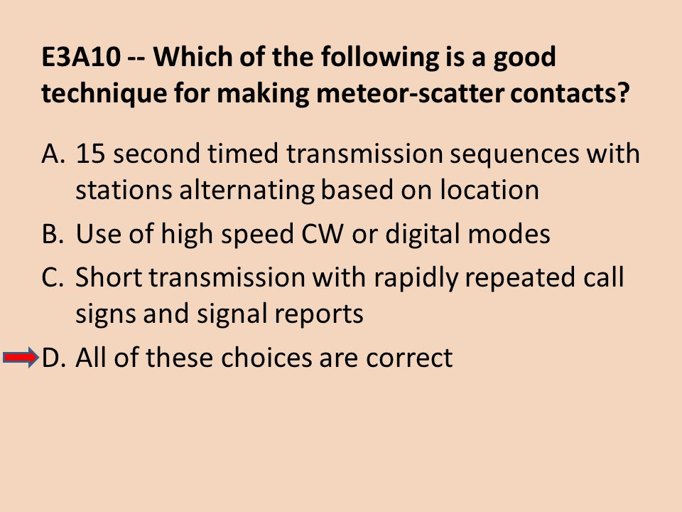 E3A10 -- Which of the following is a good technique for making meteor-scatter contacts