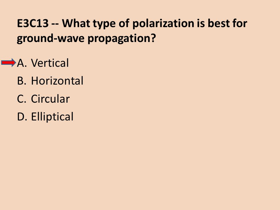E3C13 -- What type of polarization is best for ground-wave propagation