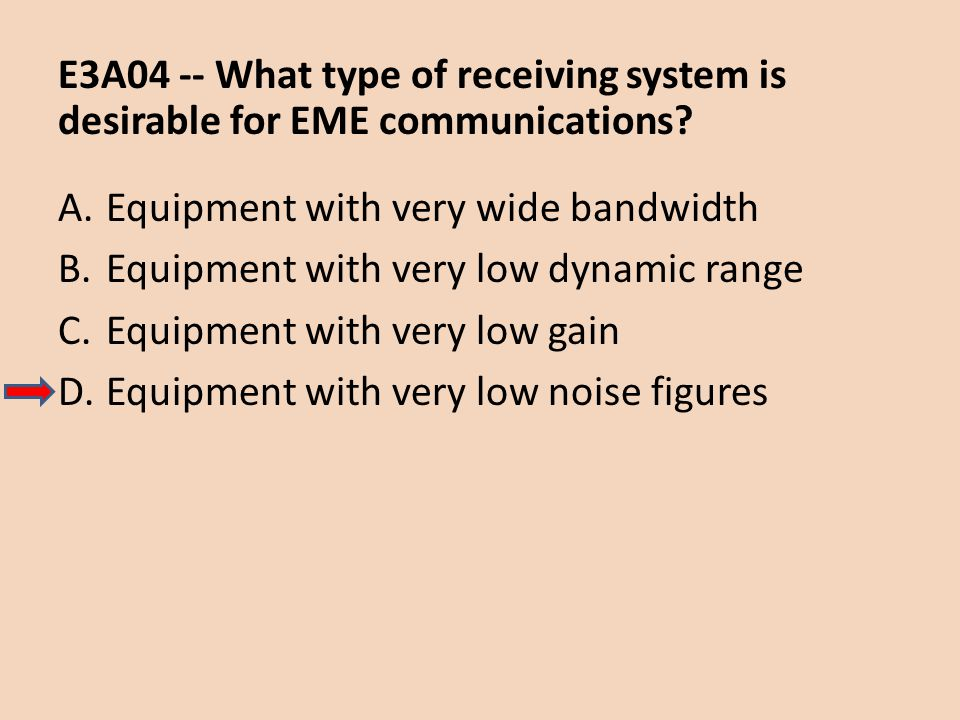 E3A04 -- What type of receiving system is desirable for EME communications