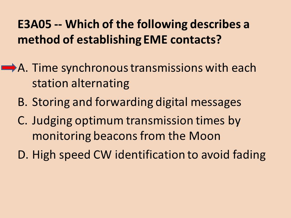E3A05 -- Which of the following describes a method of establishing EME contacts
