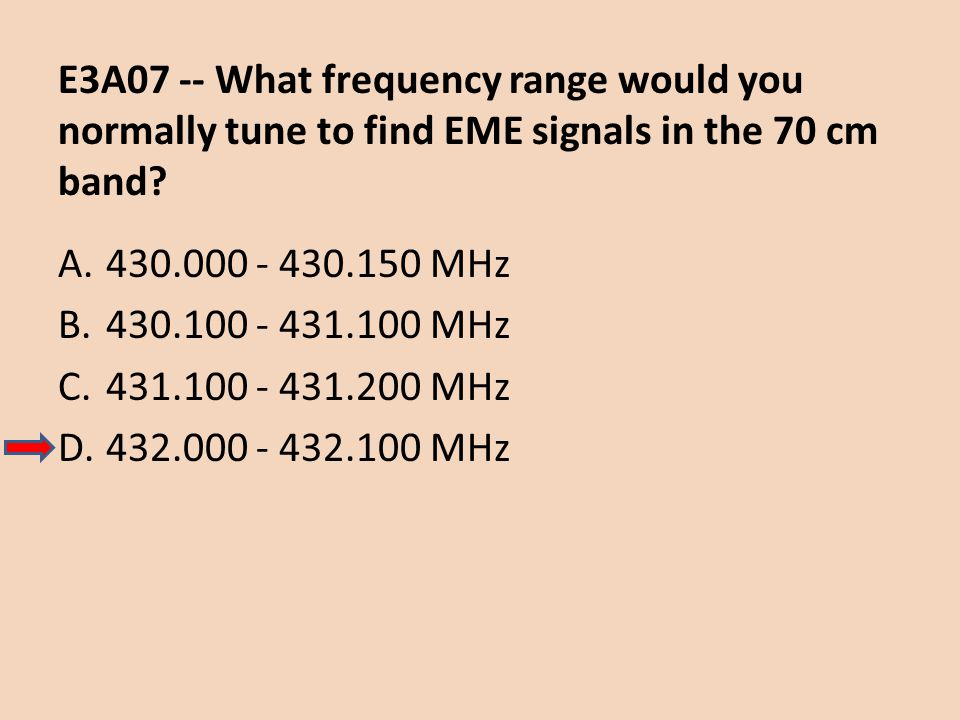 E3A07 -- What frequency range would you normally tune to find EME signals in the 70 cm band
