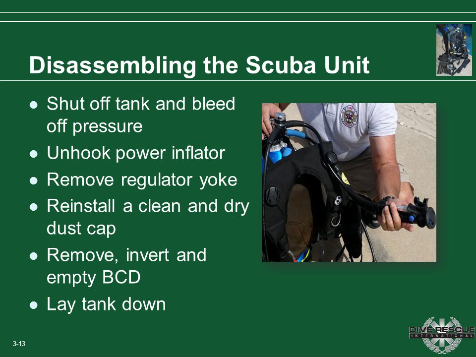 Disassembling the Scuba Unit