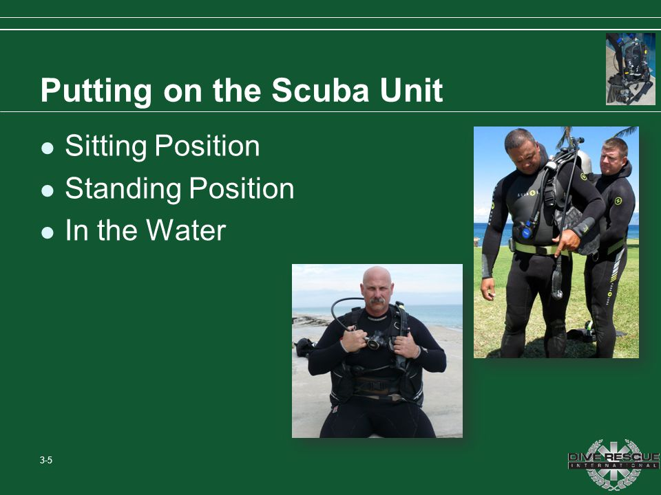 Putting on the Scuba Unit