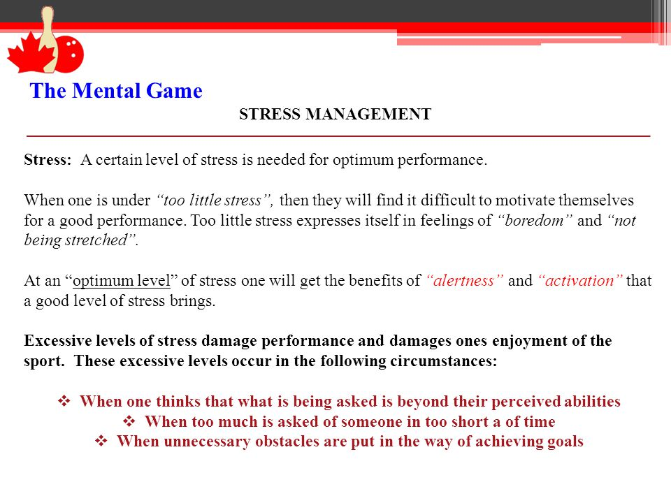 The Mental Game STRESS MANAGEMENT