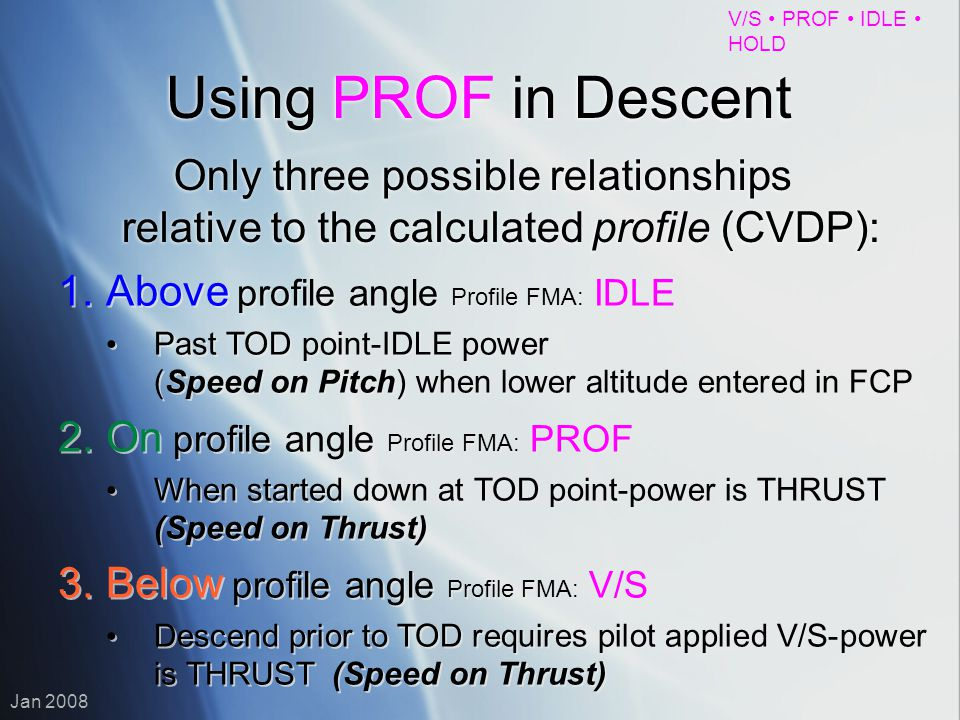 Using PROF in Descent Only three possible relationships relative to the calculated profile (CVDP): Above profile angle Profile FMA: IDLE.