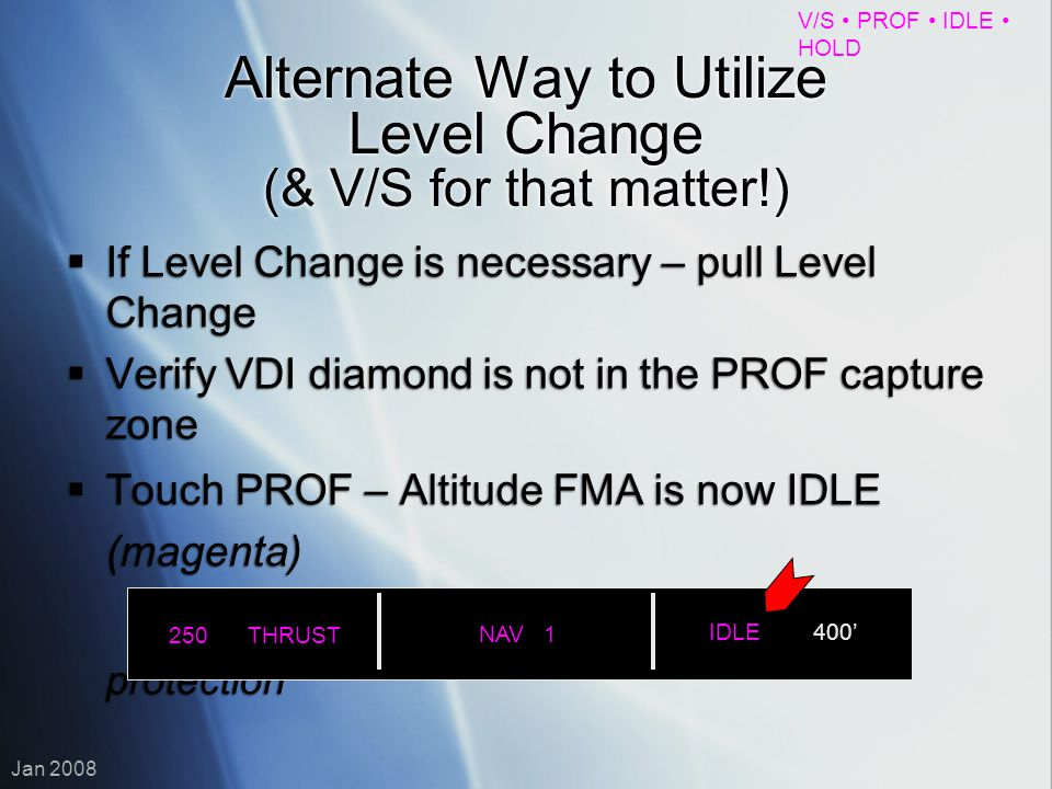 Alternate Way to Utilize Level Change (& V/S for that matter!)