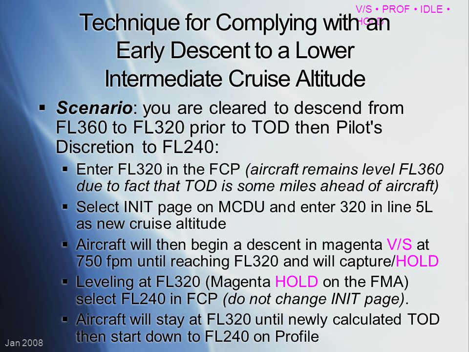 Technique for Complying with an Early Descent to a Lower Intermediate Cruise Altitude
