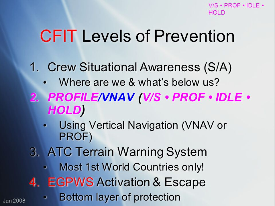 CFIT Levels of Prevention