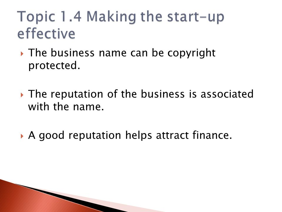 Topic 1.4 Making the start-up effective