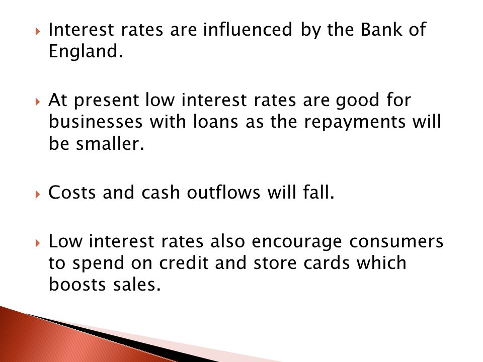 Interest rates are influenced by the Bank of England.