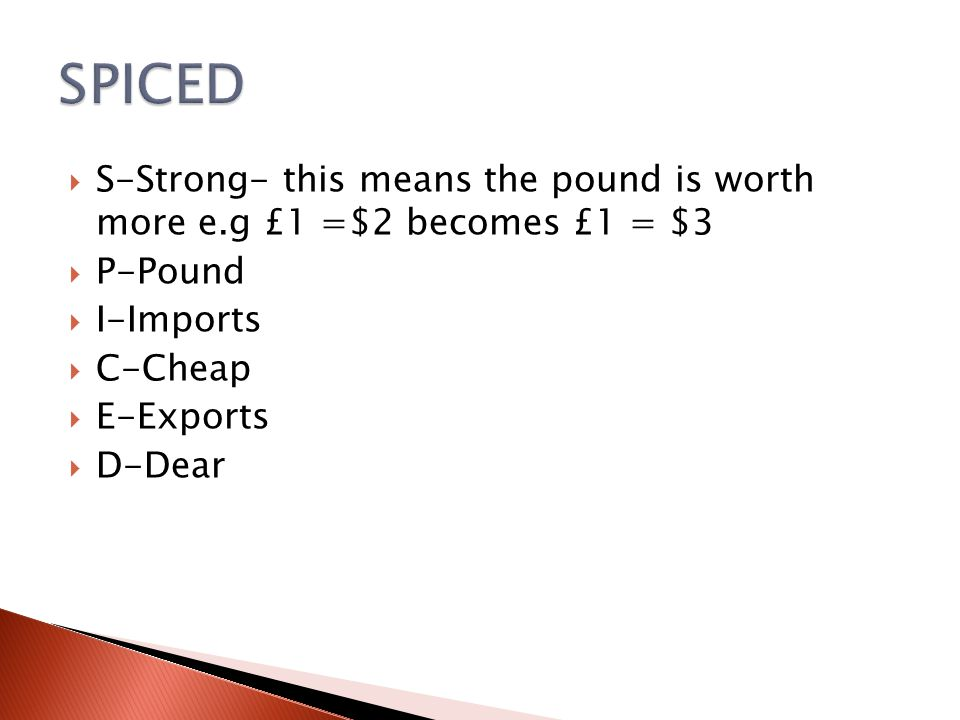 SPICED S-Strong- this means the pound is worth more e.g £1 =$2 becomes £1 = $3. P-Pound. I-Imports.