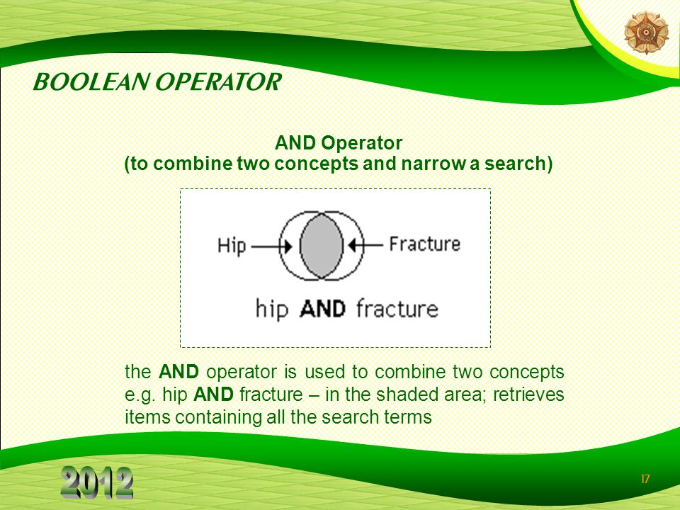 AND Operator (to combine two concepts and narrow a search)‏