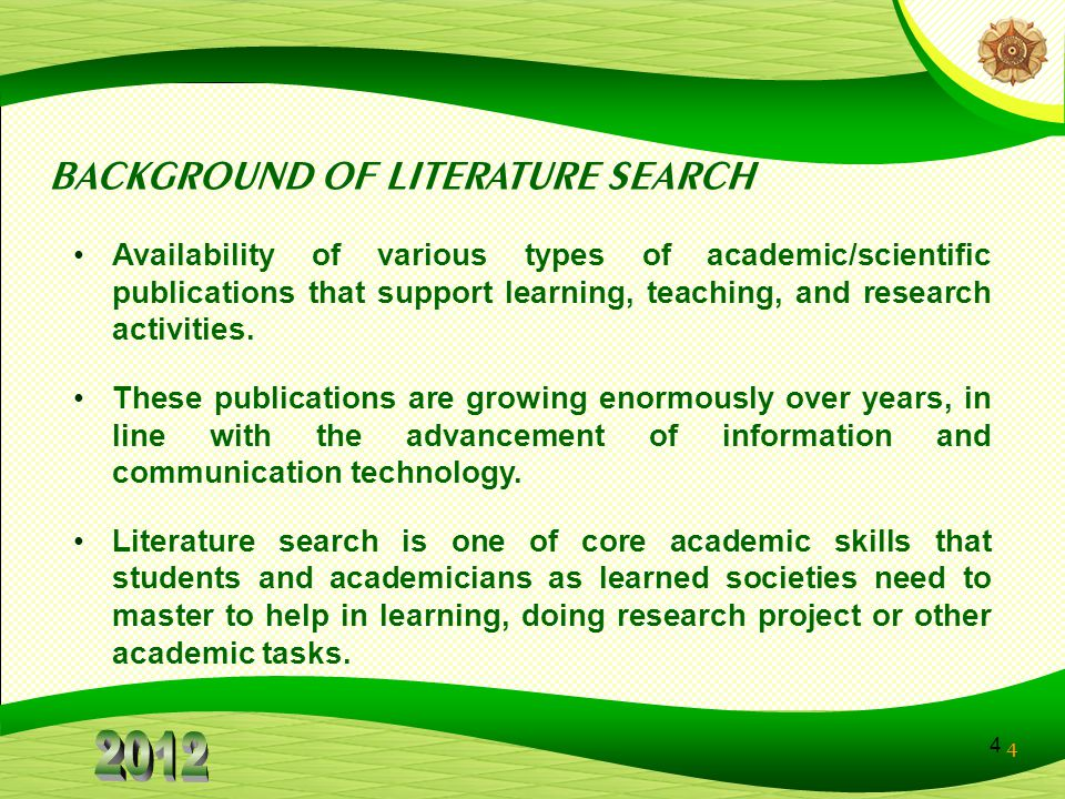 BACKGROUND OF LITERATURE SEARCH