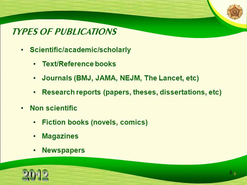 TYPES OF PUBLICATIONS Scientific/academic/scholarly