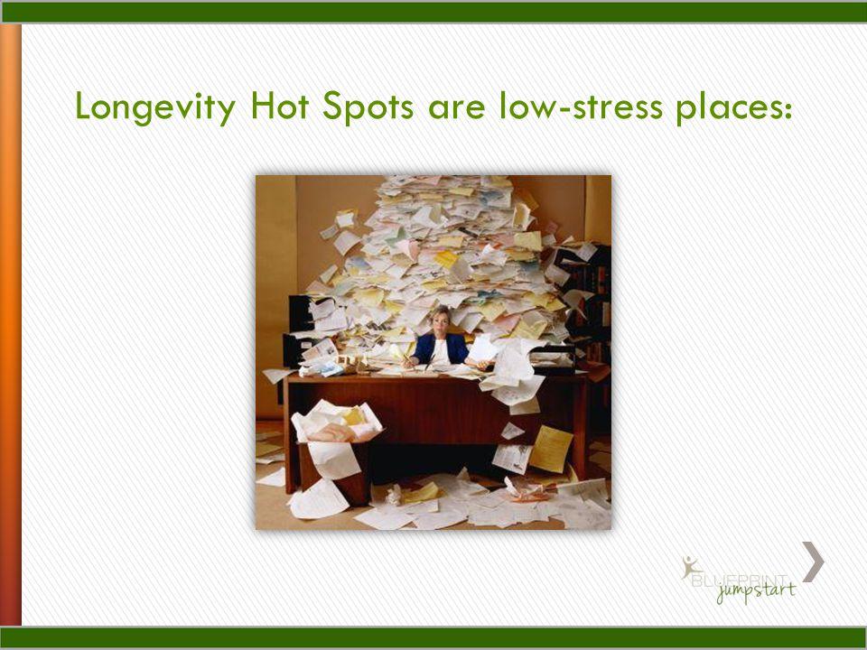 Longevity Hot Spots are low-stress places: