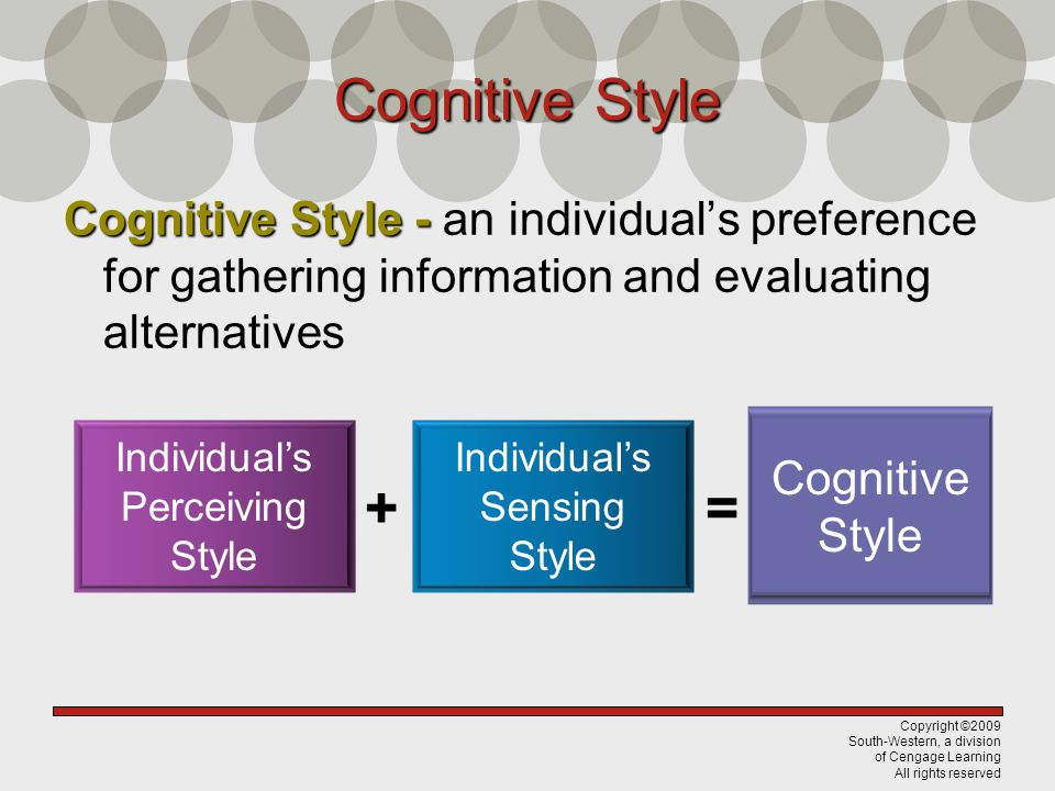 Cognitive Style Cognitive Style - an individual's preference for gathering information and evaluating alternatives.