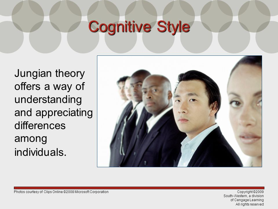 Cognitive Style Jungian theory offers a way of understanding and appreciating differences among individuals.