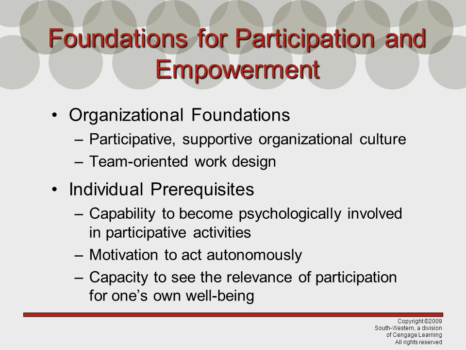 Foundations for Participation and Empowerment