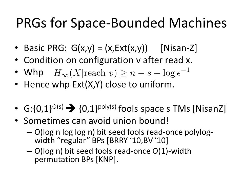 PRGs for Space-Bounded Machines