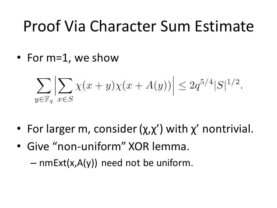 Proof Via Character Sum Estimate