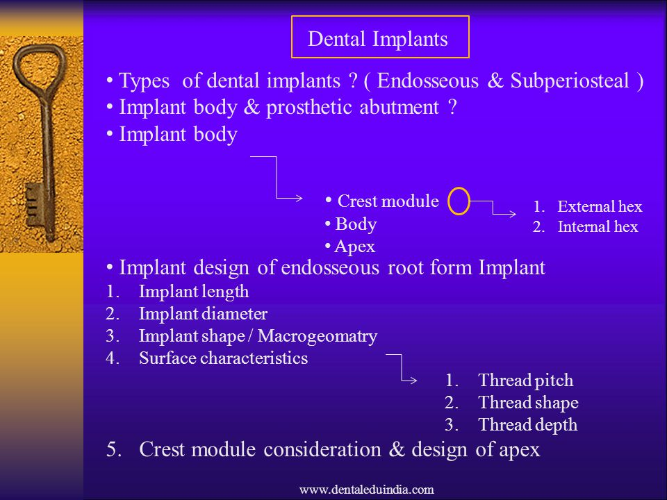 Types of dental implants ( Endosseous & Subperiosteal )