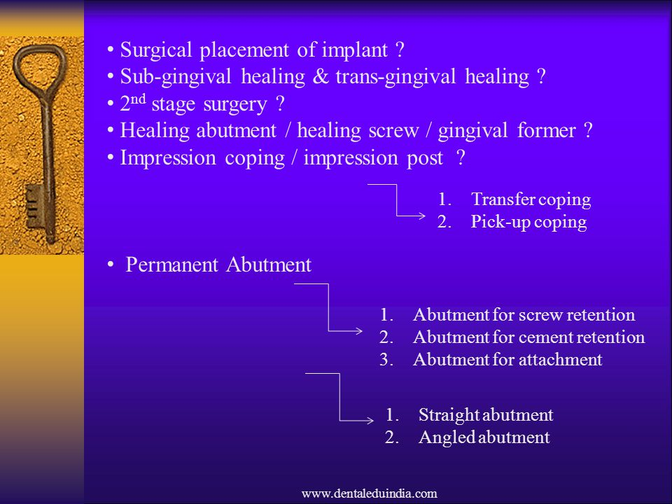 Surgical placement of implant