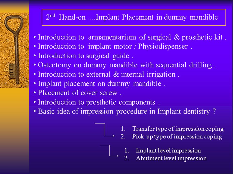 2nd Hand-on ....Implant Placement in dummy mandible