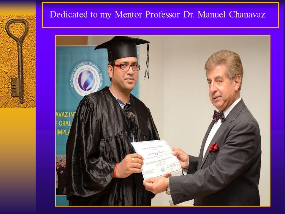 Dedicated to my Mentor Professor Dr. Manuel Chanavaz
