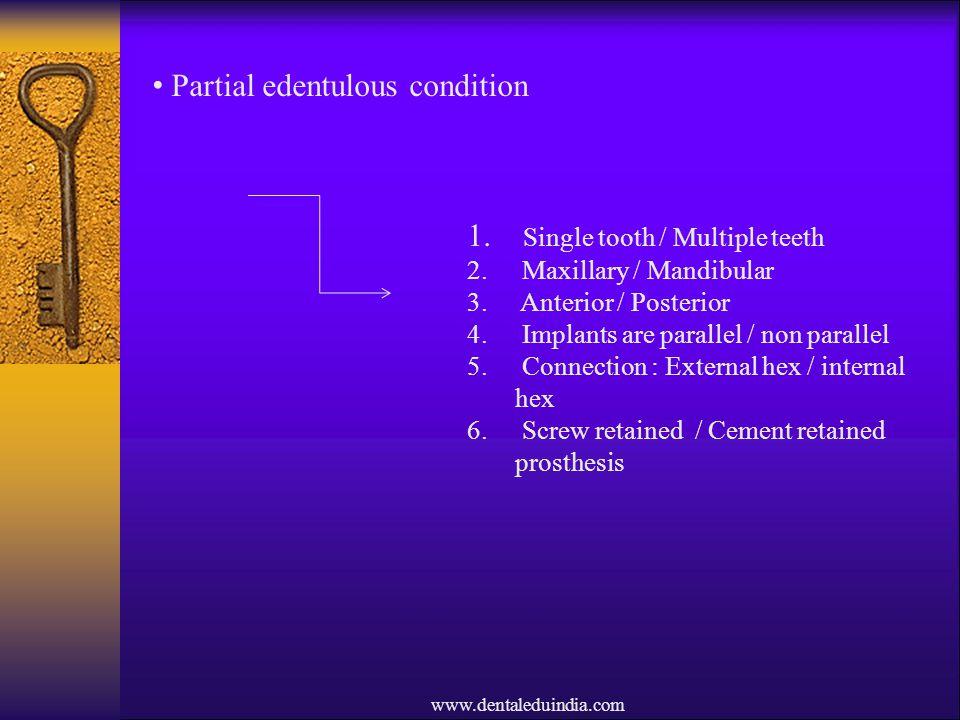 Partial edentulous condition
