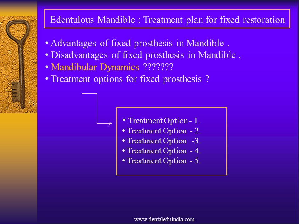 Edentulous Mandible : Treatment plan for fixed restoration