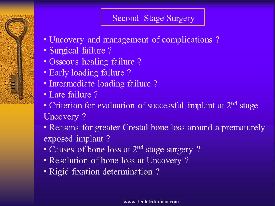 Uncovery and management of complications Surgical failure