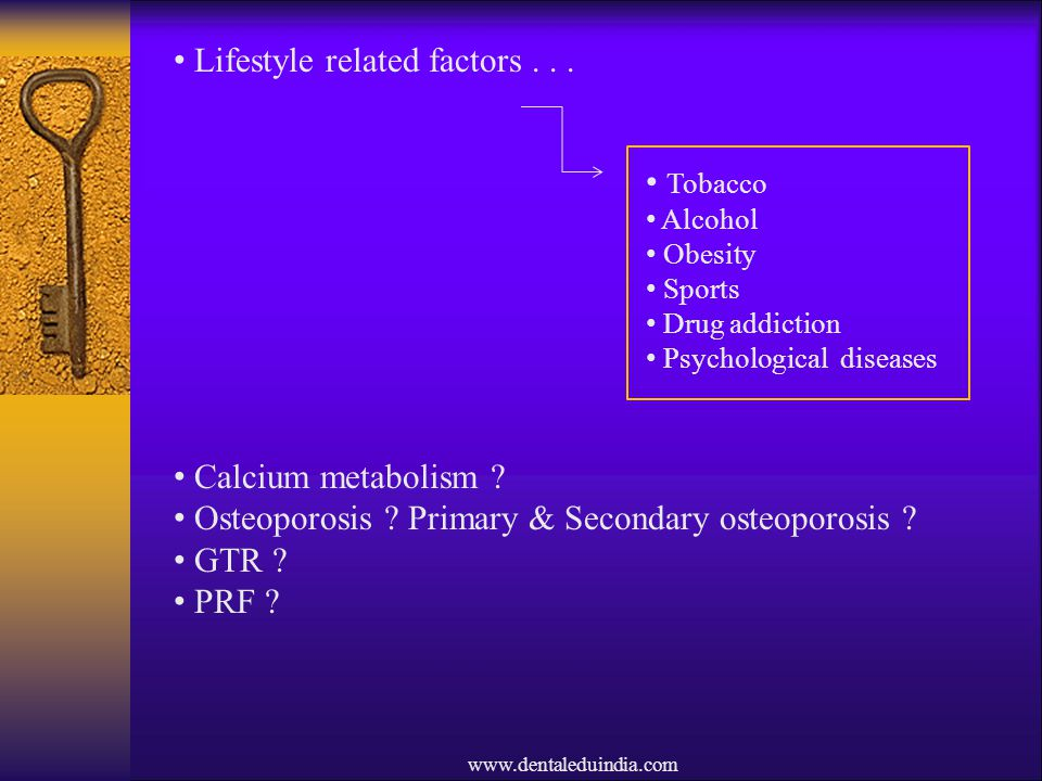 Lifestyle related factors . . .