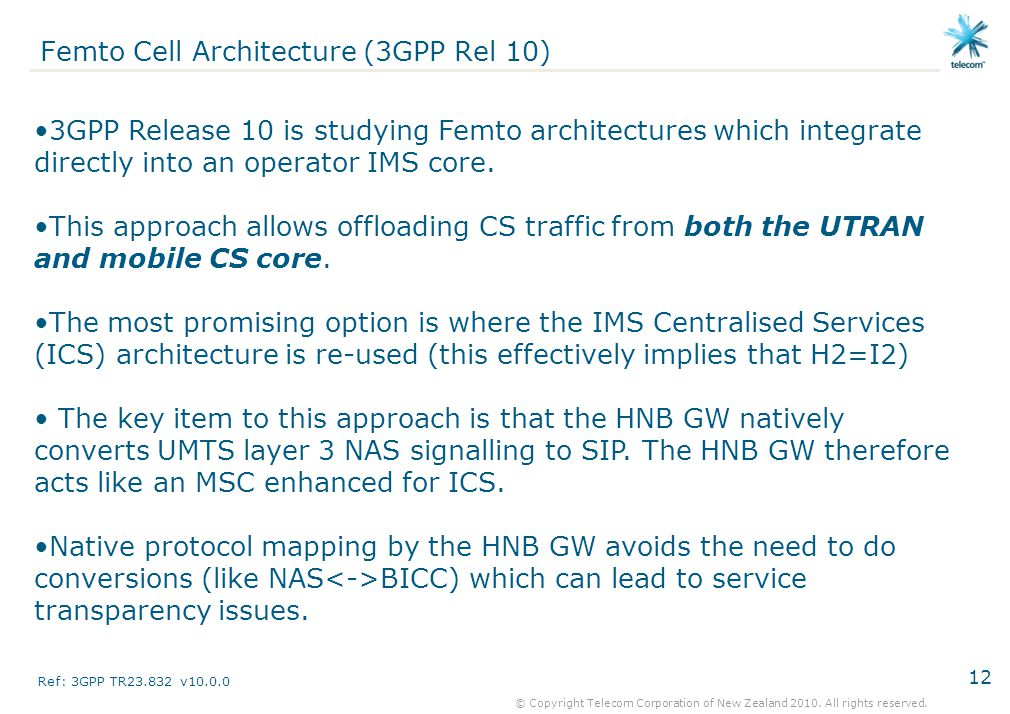 Femto Cell Architecture (3GPP Rel 10)