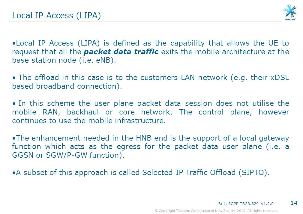 Local IP Access (LIPA)