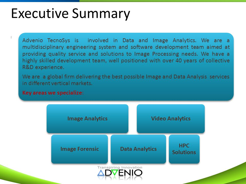 Executive Summary Key areas we specialize: