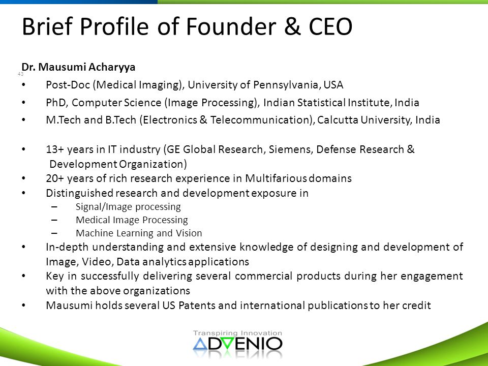 Brief Profile of Founder & CEO