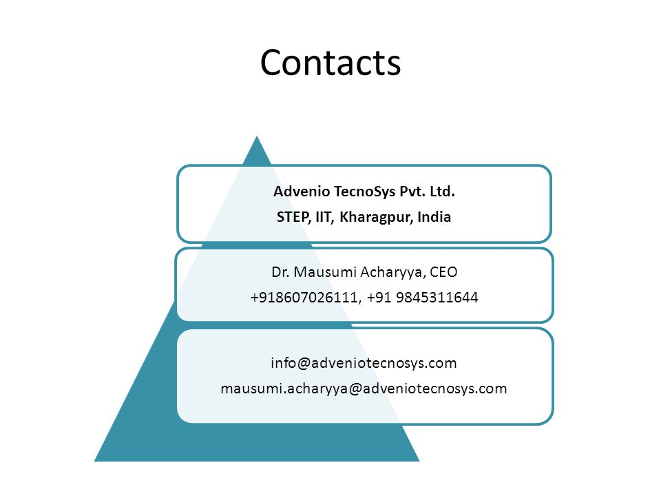 Advenio TecnoSys Pvt. Ltd. STEP, IIT, Kharagpur, India