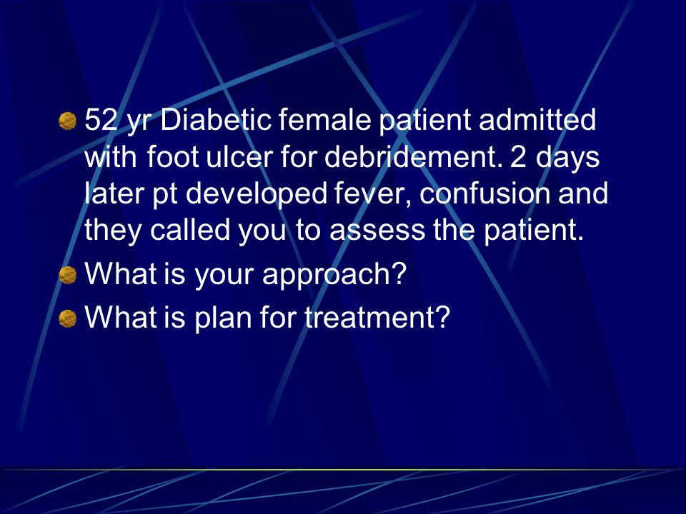 52 yr Diabetic female patient admitted with foot ulcer for debridement