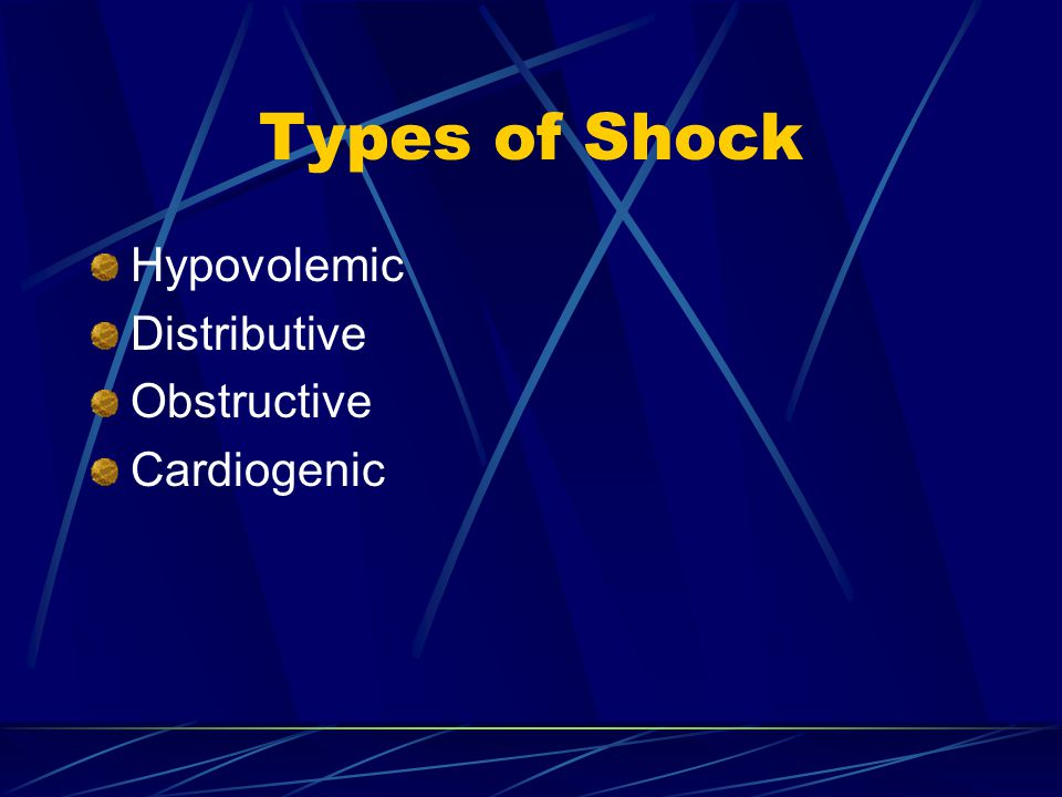 Types of Shock Hypovolemic Distributive Obstructive Cardiogenic