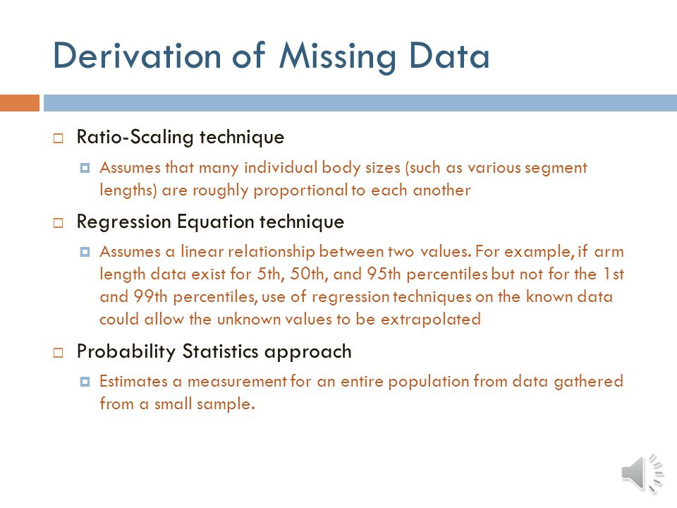 Derivation of Missing Data