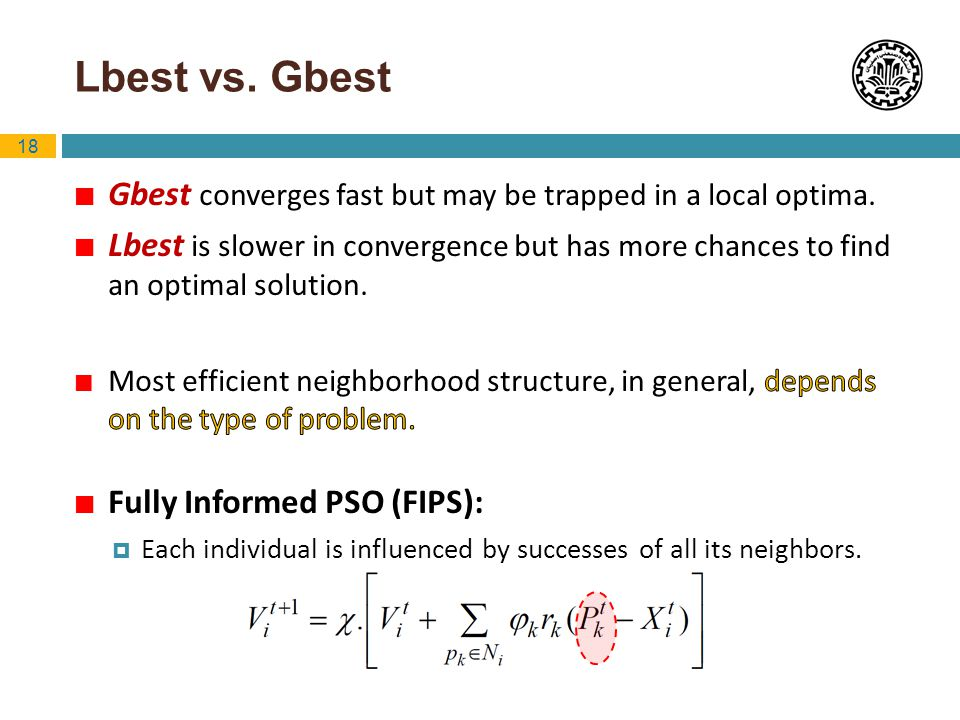 Lbest vs. Gbest Gbest converges fast but may be trapped in a local optima.