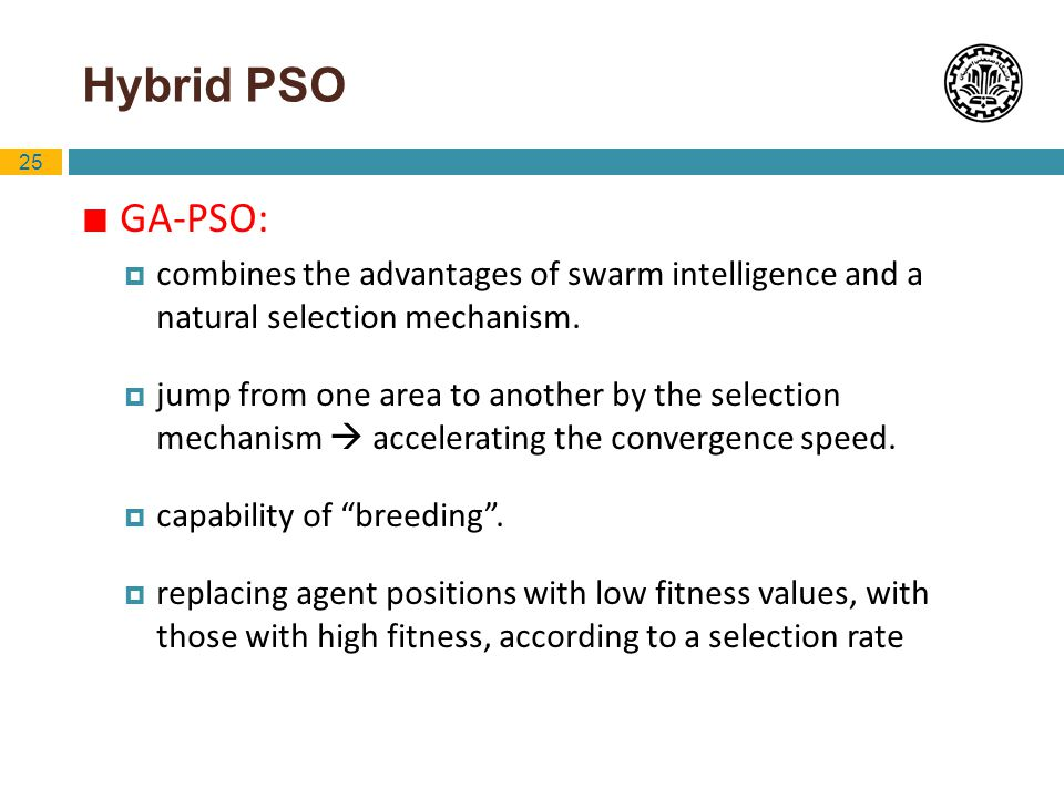 Hybrid PSO GA-PSO: combines the advantages of swarm intelligence and a natural selection mechanism.