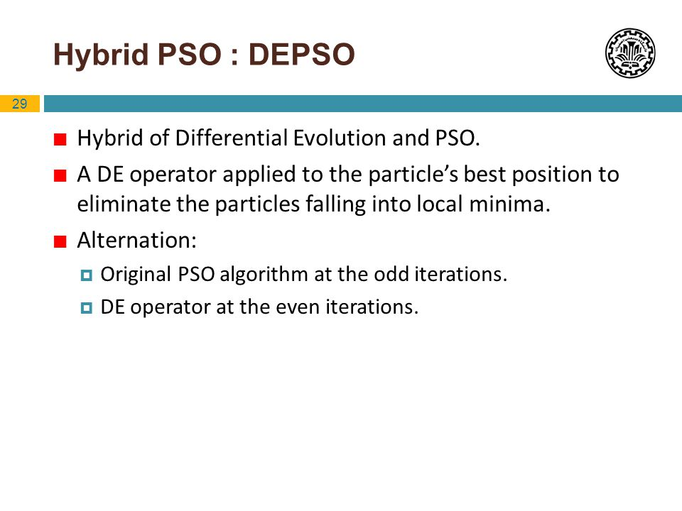 Hybrid PSO : DEPSO Hybrid of Differential Evolution and PSO.