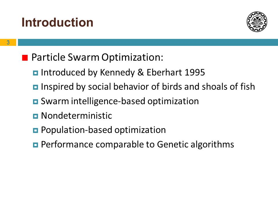 Introduction Particle Swarm Optimization: