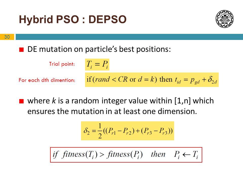Hybrid PSO : DEPSO DE mutation on particle's best positions: