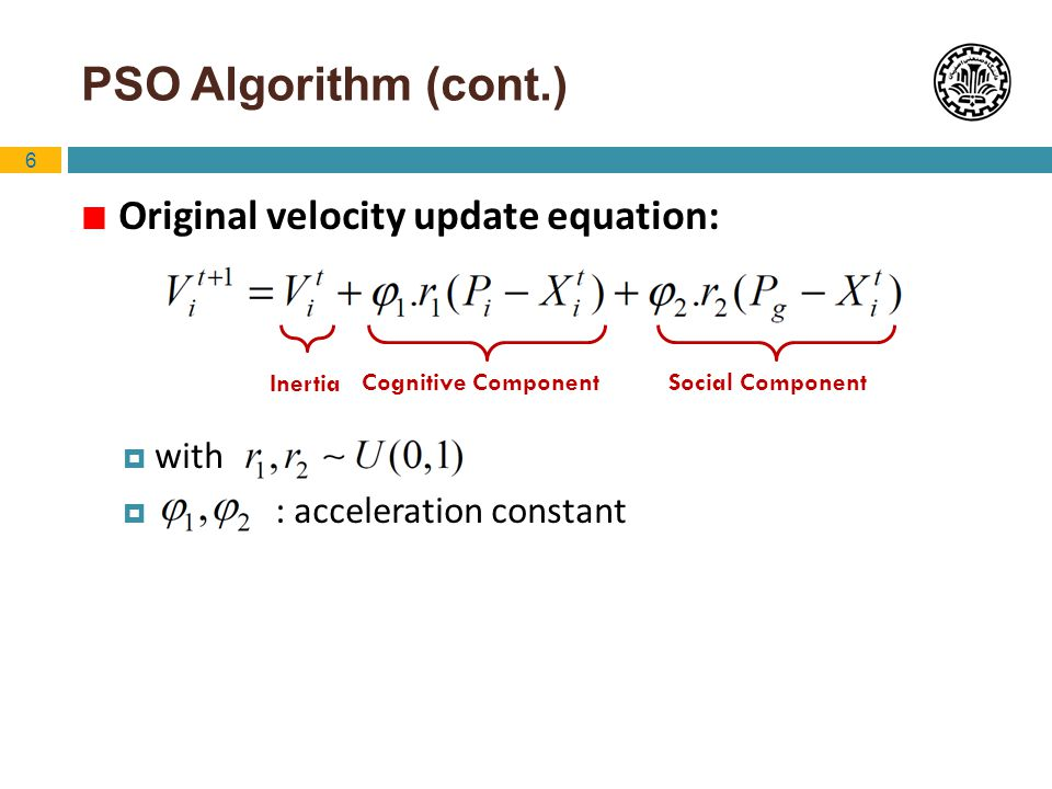PSO Algorithm (cont.) Original velocity update equation: with