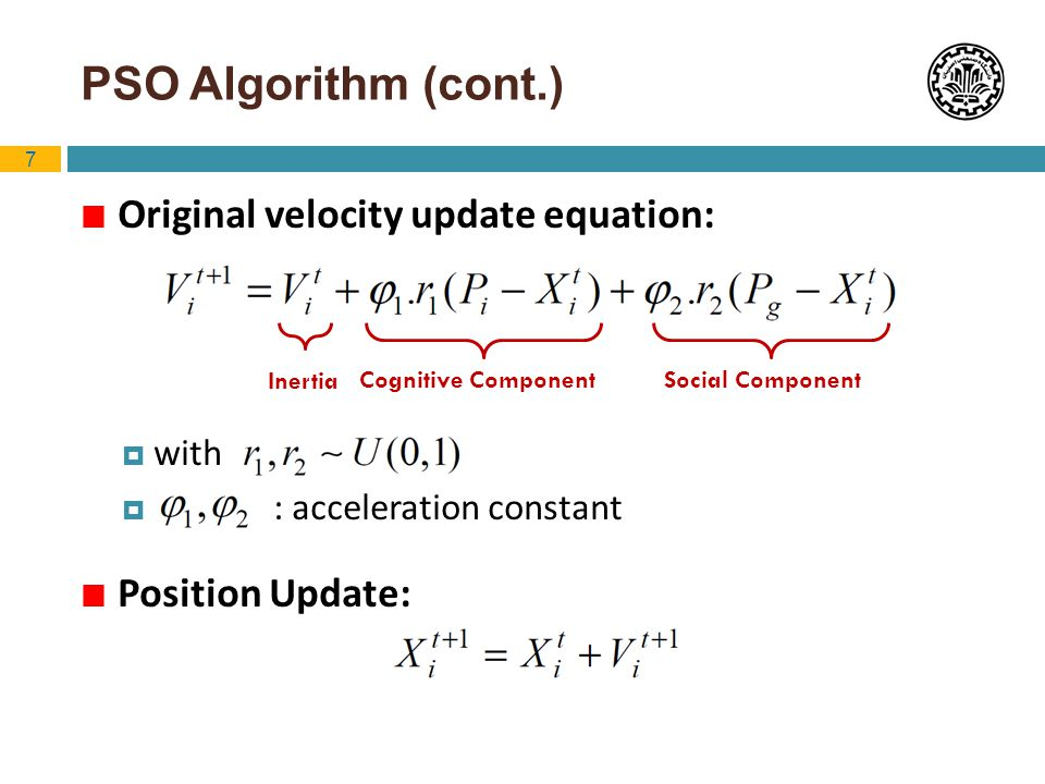 PSO Algorithm (cont.) Original velocity update equation: